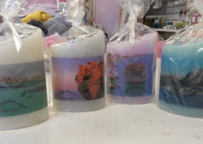 Bougies avec des photos de Bonifacio pour des cadeaux clients d'un hôtel