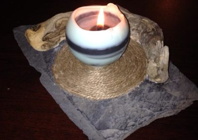 Sphère et porte bougie ardoise et bois flotté